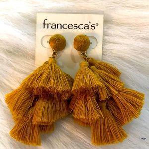 NWT Francesca's mustard Tassel earrings.